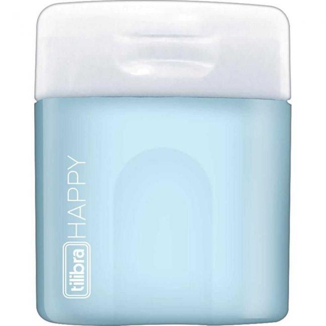 Apontador 1 Furo Com Depósito Happy Azul Pastel - Tilibra