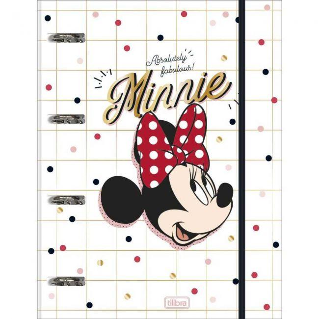 Caderno Argolado Universitário Cartonado Com Elástico Minnie 80 Folhas - Tilibra