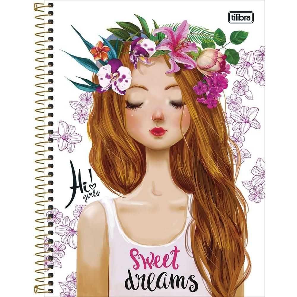 Caderno Espiral Capa Dura Universitário 16 Matéria 320 Folhas Hi! Girls Capa 01 - Tilibra