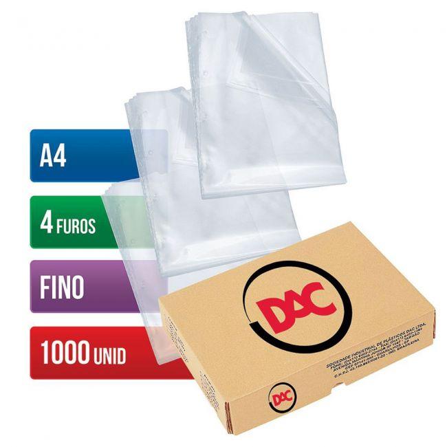 Envelope Plástico Dac A4 Expessura Fina 4 Furos Com 1000 Unidades