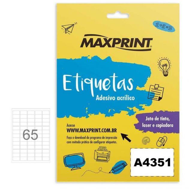 Etiqueta Ink-jet/laser A4351 21,2x38,2 Mm Pacote Com 100 Folhas Com 65 Etiquetas Por Folha - Maxprin