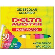Giz Escolar Plastificado Colorido Com 50 Palitos - Delta