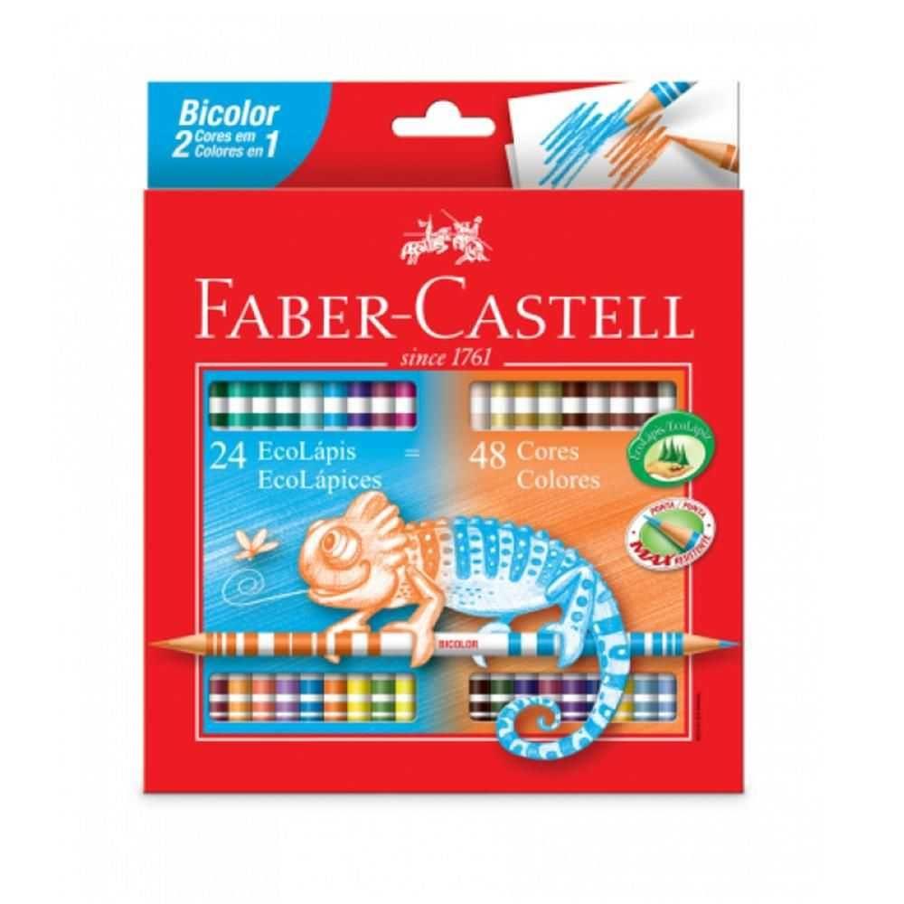Lápis de Cor Longo 24/48 Bicolor Faber Castell