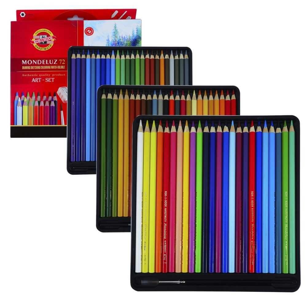 Lápis Aquarelável Mondeluz 72 Cores Com 3 Pincel 2 Apontador