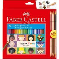 Lapis de Cor 24 Cores Sextavado + 6 Tons de Pele - Faber-castell