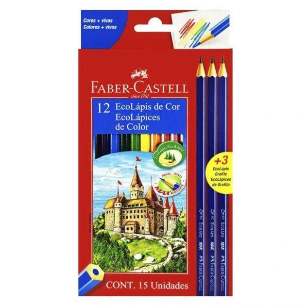 Lápis de Cor Longo 12 Cores +3 Eco Lapis - Faber Castell