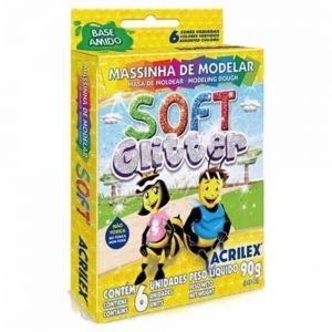 Massa de Modelar Soft Glitter 6 Cores - Acrilex