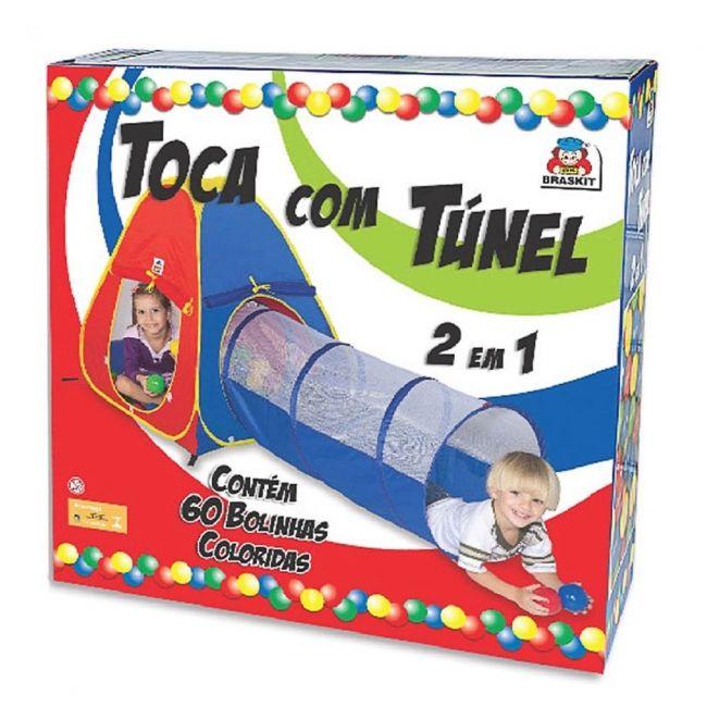 Toca Infantil Túnel 2 Em 1 Com 60 Bolinhas Braskit
